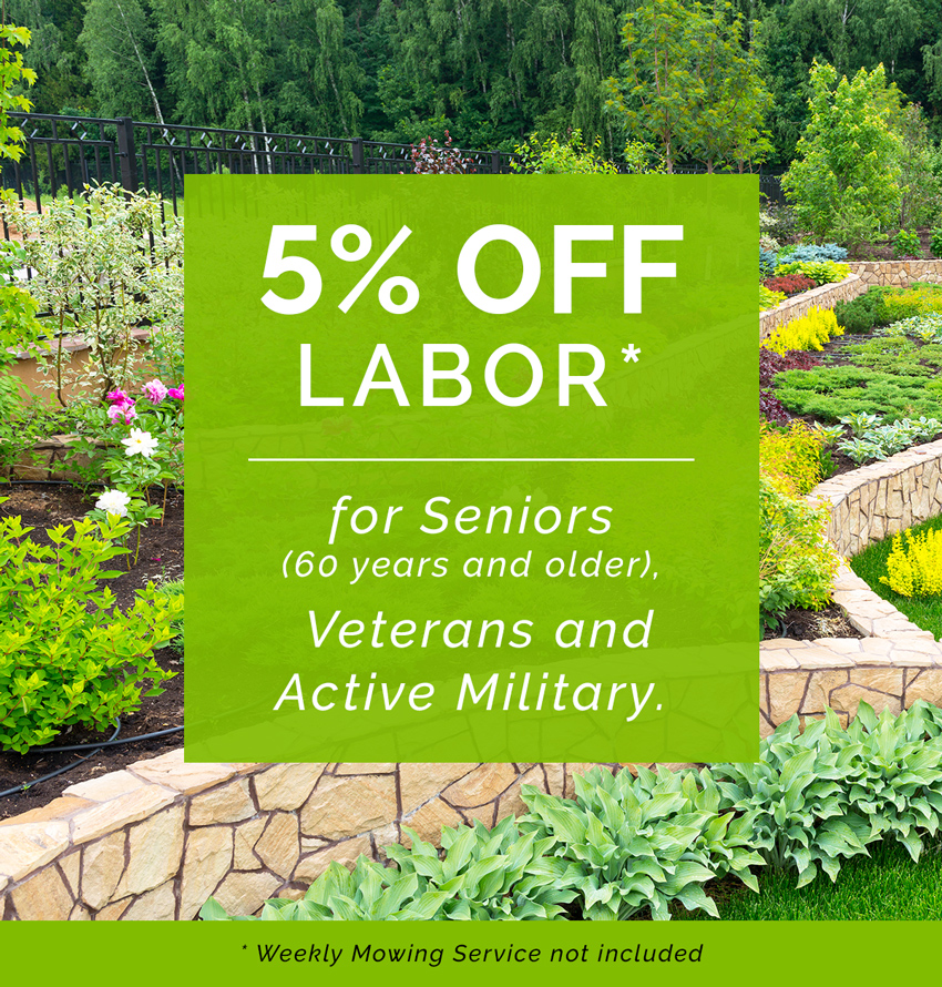 5% Off Labor for Seniors, Veterans and Active Military. Restrictions apply.